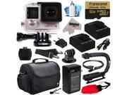 GoPro Hero 4 HERO4 Silver Edition 4K Action Camera Camcorder with 32GB MicroSD Card, 2x Batteries, Charger, Large Case, Stabilizer Handle Grip, HDMI, MicroSD Reader, Dust Cleaning Care Kit