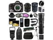"Canon EOS 5D Mark 3 DSLR SLR Digital Camera + 6.5mm Fisheye + 24-105mm STM + 420-1600mm Lens + Filters + 128GB Memory + Action Stabilizer + i-TTL Autofocus Flash + Backpack + Case + 70"" Tripod + More"