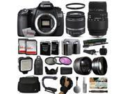 Canon EOS 60D DSLR Digital Camera with 18-55mm IS II + Sigma 70-300mm Lens + 128GB Memory + 2 Batteries + Charger + LED Video Light + Backpack + Case + Filters + Auxiliary Lenses + More