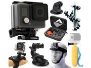 GoPro HERO Action Camcorder Camera Camcorder (CHDHA-301+ Premium Travel Case + Flexible Tripod + Floating Grip Handle + Head Chin Strap + Car Dashboard Suction Mount + Hand Action Glove