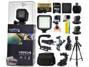 GoPro Hero 4 HERO4 Session CHDHS-101 with 64GB Ultra Memory + LED Night Light + Handgrip + Floaty Bobber + Action Handle + Suction Cup + Large Padded Case + 60? Tripod + Bike Handlebar Mount + More