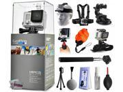 GoPro HERO3+ Hero 3+ Silver Edition Camera with Headstrap + Chest Harness Mount + Car Suction Cup + Handgrip Stabilizer + Floaty Strap + Wrist Glove Strap + Selfie Stick + Tripod + Cleaning Kit