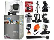 GoPro HERO3+ Hero 3+ Silver Edition Camera + 32GB Ultra Memory + 60? Pro Series Tripod + Bike Motorcycle Clamp + Head/Chest Mount + Suction Cup + Stabilizer + Selfie Stick + Wrist Glove + Floaty Strap