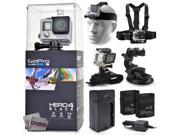 GoPro Hero 4 HERO4 Black CHDHX-401 with Headstrap + Chest Harness Mount + Wrist Glove Strap + Suction Cup + Two Extra Batteries + Travel Charger
