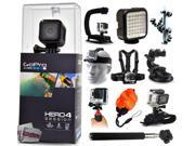 GoPro Hero 4 HERO4 Session CHDHS-101 with Opteka X-Grip + LED Light + Flexible Tripod + Chest Harness + Headstrap + Car Suction Cup + Handgrip Stabilizer + Floaty Strap + Selfie Stick + Wrist Glove