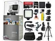 GoPro HERO3+ Hero 3+ Silver Edition Camera with 32GB Ultra Memory + LED Night Light + Handgrip + Floaty Bobber + Action Handle + Suction Cup + Large Padded Case + 60? Tripod + Bike Handlebar Mount