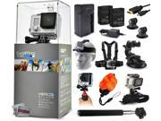 GoPro HERO3+ Hero 3+ Silver Edition Camera + Travel Charger + 2 Battery + Travel Charger + Headstrap + Chest Harness Mount + Suction Cup + Handgrip + Floaty Strap + Wrist Glove + Selfie Stick + More