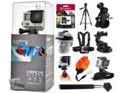 GoPro Hero 4 HERO4 Silver CHDHY-401 with 32GB Ultra Memory + 60? Pro Series Tripod + Bike Motorcycle Clamp + Head/Chest Mount + Suction Cup + Stabilizer + Selfie Stick + Wrist Glove + Floaty Strap