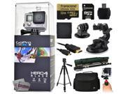 """GoPro Hero 4 HERO4 Black CHDHX-401 with 32GB Ultra Memory with MicroSD Reader + Suction Cup Mount + 67"""" Monopod + 60? Pro Series Tripod + Large Padded Case + Handgrip Stabilizer + HDMI Cable + More"""