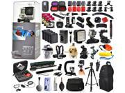 GoPro Hero 4 HERO4 Silver Edition CHDHY-401 with 192GB Memory + WiFi Remote + Filters + 4 Batteries + Skeleton Housing + Microphone + X-Grip + LED Light + Car Mount + Travel Case + Selfie Stick + More
