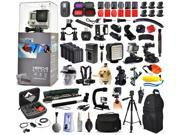 GoPro Hero 4 HERO4 Silver Edition CHDHY-401 with Filters + WiFi Remote + Filters + 4 Batteries + Skeleton Housing + Microphone + X-Grip + LED Light + Car Mount + Travel Case + Selfie Stick + More
