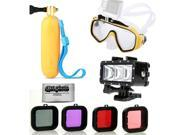 Opteka Scuba Diving Mask Hand Grip LED Flash Light Scuba 4PC Filter for GoPro HERO4 HERO3 Black Silver and Similar Action Cameras