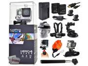 GoPro Hero 4 HERO4 Black CHDHX-401 with Travel Charger + 2 Battery + Travel Charger + Headstrap + Chest Harness Mount + Suction Cup + Handgrip + Floaty Strap + 9SIA04D3E08790