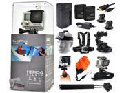 GoPro Hero 4 HERO4 Silver CHDHY-401 with Travel Charger + 2 Battery + Travel Charger + Headstrap + Chest Harness Mount + Suction Cup + Handgrip + Floaty Strap + 9SIA04D3E08901