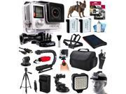 GoPro Hero 4 HERO4 Silver Edition CHDHY 401 with Dog Strap Solar Charger 96GB Memory Large Case X Grip Action Stabilizer LED Light HDMI Cable Full