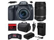 Canon EOS 7D 18 MP CMOS Digital SLR Camera with 18 135mm f 3.5 5.6 IS UD and EF S 55 250mm f 4 5.6 IS II Lens with 32GB Memory Large Case Battery Charger Me