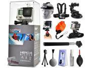 GoPro Hero 4 HERO4 Silver CHDHY-401 with Headstrap + Chest Harness Mount + Car Suction Cup + Handgrip Stabilizer + Floaty Strap + Wrist Glove Strap + Selfie Sti 9SIA04D3E09011