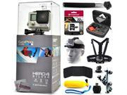 GoPro Hero 4 HERO4 Silver CHDHY 401 with 32GB Ultra Memory Premium Case Head Strap Selfie Stick Chest Harness Flexible Tripod Floaty Bobber MicroS