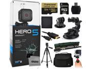 GoPro HERO5 Session CHDHS 501 with 32GB Ultra Memory MicroSD Reader Suction Cup Mount 67 Monopod 60? Pro Series Tripod Large Padded Case Handgrip S
