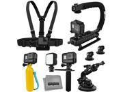 Accessory Kit for GoPro HERO5 Black / Session 4K Action Camera with X-Grip Stabilizer, HandGrip, Floating Handle, LED Video Light, Chest Mount, Tripod Adapter, 9SIA04D53R2448