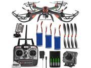 Dynamic Aerial Systems X4 Venom 6-Channel 2.4ghz Remote Control Quadcopter Drone with Battery and Micro SD Camera Kit