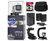 GoPro Hero 4 HERO4 Black CHDHX-401 with 32GB Ultra Memory + Large Padded Case + Two Batteries + Travel Charger + Suction Cup + Opteka X-Grip Action Handle 9SIA04D3E08910