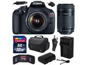 Canon EOS Rebel T5 (1200D) Digital SLR Camera with EF-S 18-55mm IS II and EF-S 55-250mm f/4-5.6 IS STM Lens with 32GB Memory, Large Case, Battery, Charger, Memo 9SIA04D2MV7080
