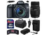 Canon EOS 70D Digital SLR Camera with 18-135mm STM and Sigma 70-300mm f/4-5.6 DG Macro Lens includes 16GB Memory + Large Case + Extra Battery + Travel Charger + 9SIA04D2MV7114