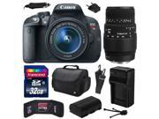 Canon EOS Rebel T5i (700D) Digital SLR with 18-55mm STM and Sigma 70-300mm f/4-5.6 DG Macro Lens includes 32GB Memory, Large Case, Extra Battery, Charger, Memor 9SIAB925UW0894