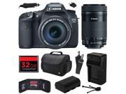 Canon EOS 7D 18 MP CMOS Digital SLR Camera with 18-135mm f/3.5-5.6 IS UD and EF-S 55-250mm f/4-5.6 IS STM Lens with 32GB Memory, Large Case, Battery, Charger, M