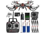 Dynamic Aerial Systems X4 Venom 6-Channel 2.4ghz Remote Control Quadcopter Drone with HD Camera and Extra Battery Kit
