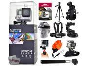 GoPro Hero 4 HERO4 Black CHDHX-401 with 32GB Ultra Memory + 60? Pro Series Tripod + Bike Motorcycle Clamp + Head/Chest Mount + Suction Cup + Stabilizer + Selfie 9SIA04D3E08946