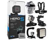 GoPro HERO5 Session CHDHS-501 with Headstrap + Chest Harness Mount + Wrist Glove Strap + Suction Cup + LED Light + Opteka X-Grip Action Stabilizer 9SIA04D50Y0538