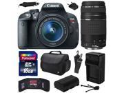 Canon EOS Rebel T5i (700D) Digital SLR with 18-55mm STM and EF 75-300mm f/4-5.6 III Lens includes 16GB Memory + Large Case + Extra Battery + Travel Charger + Me