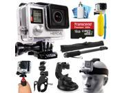 GoPro HERO4 Hero 4 Black Edition 4K Action Camera Camcorder with 16GB MicroSD Card, Selfie Stick, Handlebar Mount, Windshield Suction Cup, Helmet Strap, Floatin 9SIA04D2CC1956