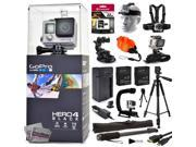 GoPro Hero 4 HERO4 Black CHDHX-401 with 32GB Card + Head/Chest Mount + Suction Cup + Floaty Strap + Wrist Glove + 60? Tripod + Two Batteries + Travel Charger + 9SIA04D3E08933