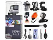 GoPro Hero 4 HERO4 Black CHDHX-401 with Headstrap + Chest Harness Mount + Car Suction Cup + Handgrip Stabilizer + Floaty Strap + Wrist Glove Strap + Selfie Stic 9SIA04D3E08878