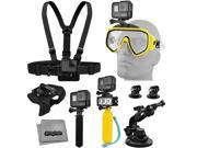 Accessory Kit for GoPro HERO5 Black / Session 4K Action Camera w/ Scuba Diving Mask, Waterproof LED Light, HandGrip, Floating Handle, Chest Strap, Wrist/Glove M 9SIA04D53R1477