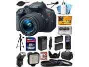 Canon EOS Rebel T5i Digital SLR with 18-55mm STM Lens with 32GB Memory, Large Case, Tripod, Flash, LED Video Light, Two Batteries, Charger, Lens Hood, UV-CPL-FL 9SIAB9261X1611