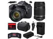 Canon EOS 7D 18 MP CMOS Digital SLR Camera with 28-135mm f/3.5-5.6 IS USM and EF-S 55-250mm f/4-5.6 IS II Lens with 16GB Memory + Large Case + Battery + Charger 9SIA04D28V3587