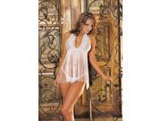 Stretch Lace And Fringe Halter Babydoll
