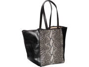 Clava Page Python Print and Leather Tote