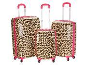 Rockland Luggage Leopard 3 Piece Hardside Spinner Set