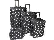 Rockland Luggage Polka Dot Expandable 4 Piece Luggage Set.