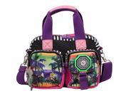 Nicole Lee WR Crinkle Nylon Print Satchel with Multi Function