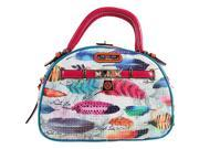 Nicole Lee Feather Print Bowler Bag