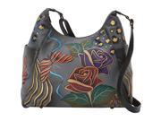 ANNA by Anuschka Hand Painted Large Multi Pocket Shoulder Bag
