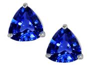 Star K 3.00 Ct. TW. Trillion Cut 7mm Created Sapphire Earring Studs