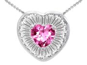 Original Star K(TM) Heart Shape Created Pink Sapphire Heart Pendant