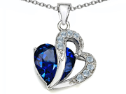Star K Large 12mm Simulated Blue Sapphire Heart Pendant with Sterling Silver Chain